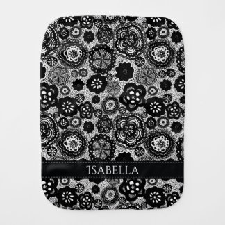 Personalized Black and White Baby Burp Cloth