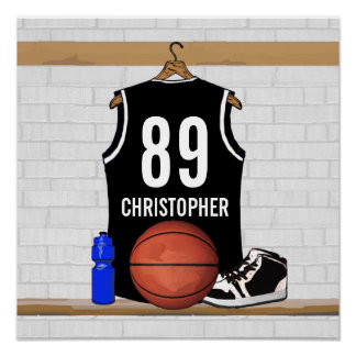 Personalized Black and White Basketball Jersey Poster