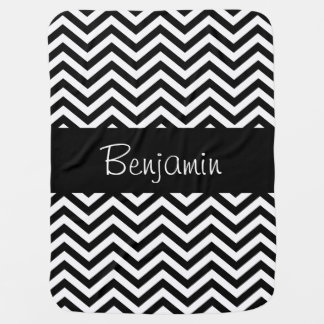 Personalized Black and White Chevron Baby Blanket