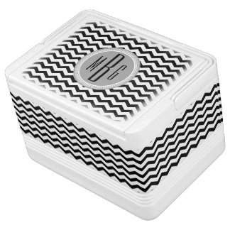 Personalized Black and White Chevron Monogrammed Cooler
