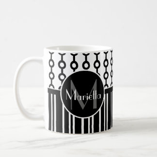 Personalized Black and white circle and stripes Coffee Mug