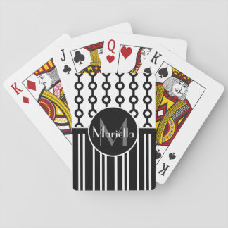 Personalized Black and white circle and stripes Playing Cards