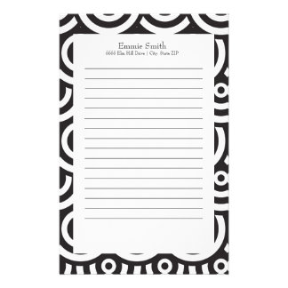 Personalized Black and White Circle Pattern Stationery