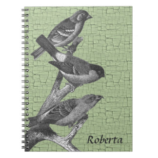 Personalized Black and White Finch Birds Notebook