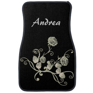 Personalized Black and White Gray Roses and Vines Car Mat