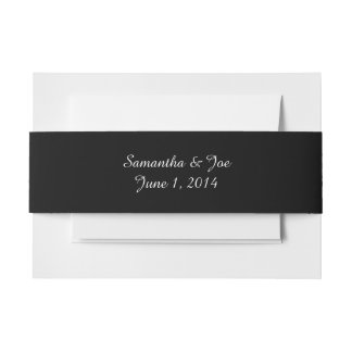 Personalized Black and White Invitation Belly Band