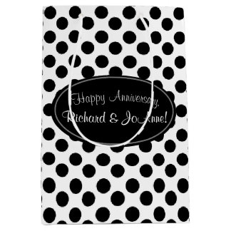 Personalized Black and White Polka Dot Gift Bag