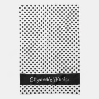Personalized Black and White Polka Dot Tea Towel