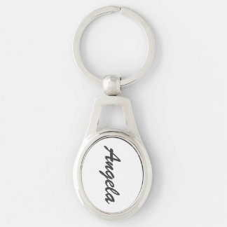 Personalized Black and White Polka Dots Silver-Colored Oval Key Ring