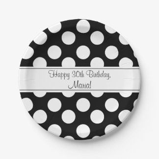 Personalized Black and White PolkaDot Paper Plates