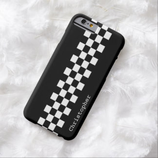 Personalized Black and White Racing Checks Barely There iPhone 6 Case