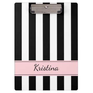 Personalized Black and White Striped Clipboard