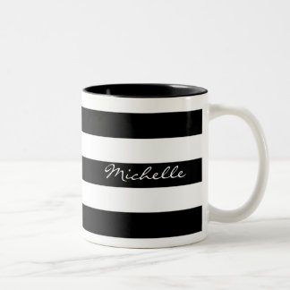 Personalized Black and White Striped Mug