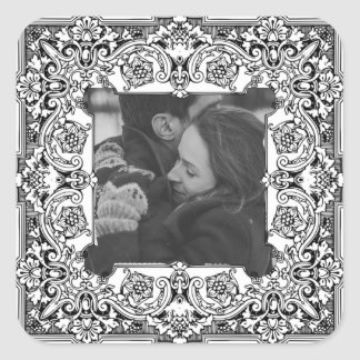 Personalized Black and White Tribal Photo Sticker