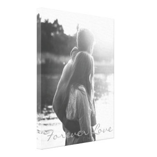 Personalized black and white vertical photo canvas print