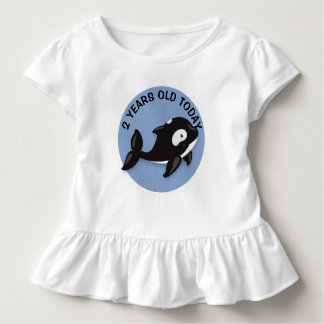 Personalized Black and White Whale Birthday Toddler T-Shirt