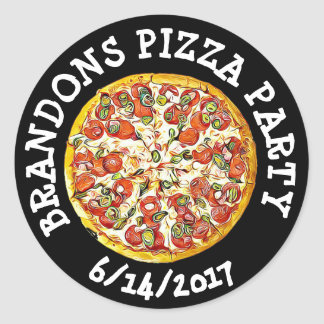 Personalized Black  Birthday Pizza Party Stickers