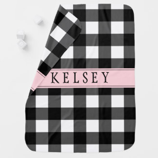 Personalized Black Buffalo Check Baby Blanket