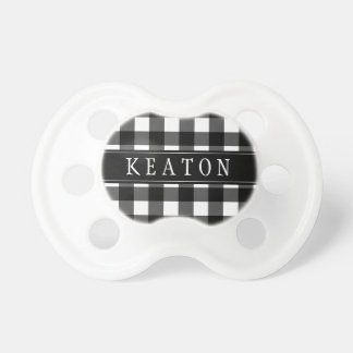 Personalized Black Buffalo Check Pacifier