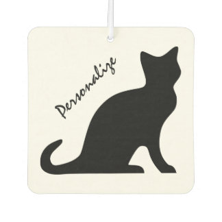 Personalized black cat car air freshener