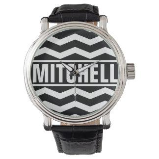 Personalized Black Chevron BFC Watch