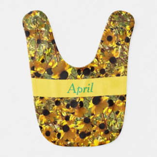 Personalized Black Eyed Susan Flowers Baby Bibs