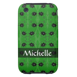 Personalized black flowers on green pattern tough iPhone 3 cover
