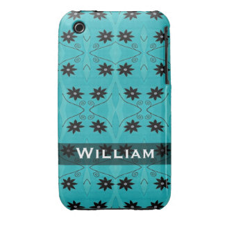 Personalized black flowers on turquoise pattern iPhone 3 Case-Mate case