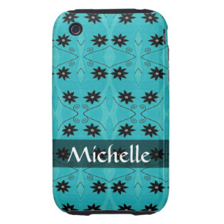 Personalized black flowers on turquoise pattern iPhone 3 tough cover