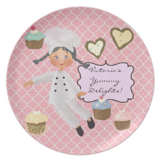 Personalized Black Hair  Baker Chef Plate
