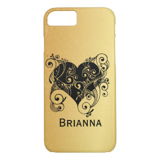Personalized Black Heart on Gold iPhone 8/7 Case
