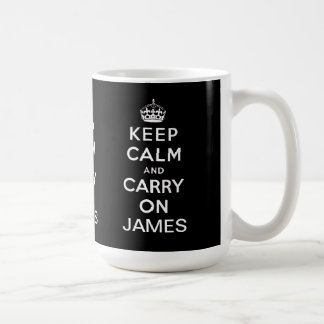 Personalized Black Keep Calm and Carry On Mugs
