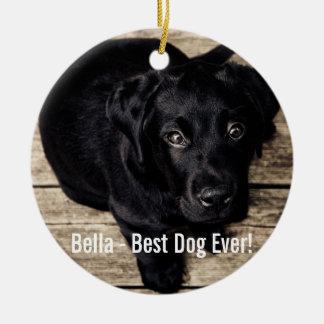 Personalized Black Lab Dog Photo and Dog Name Ceramic Ornament