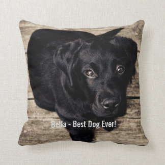 Personalized Black Lab Dog Photo and Dog Name Cushion