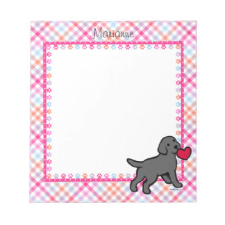 Personalized Black Lab Puppy and Red Heart Notepad