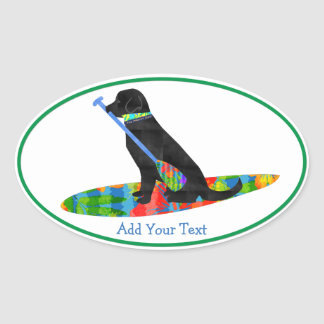 Personalized Black Lab SUP Dog Oval Sticker