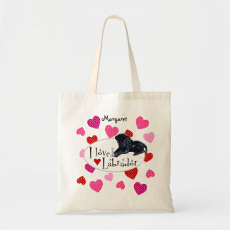Personalized Black Labrador Puppy Tote Bag