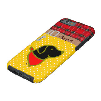 Personalized Black Labrador Red Scarf Cartoon Tough iPhone 6 Case