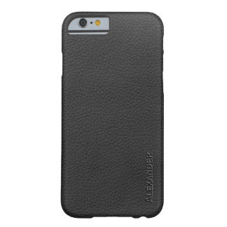 Personalized Black Leather Texture Barely There iPhone 6 Case