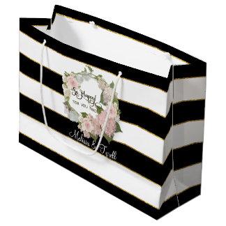 Personalized Black n White Striped Rose Hydrangeas Large Gift Bag