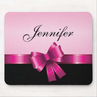 Personalized Black PINK GRADIENT Stripes PINK BOW Mouse Pad