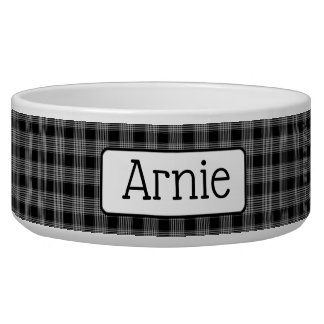 Personalized Black Plaid Dog Bowl