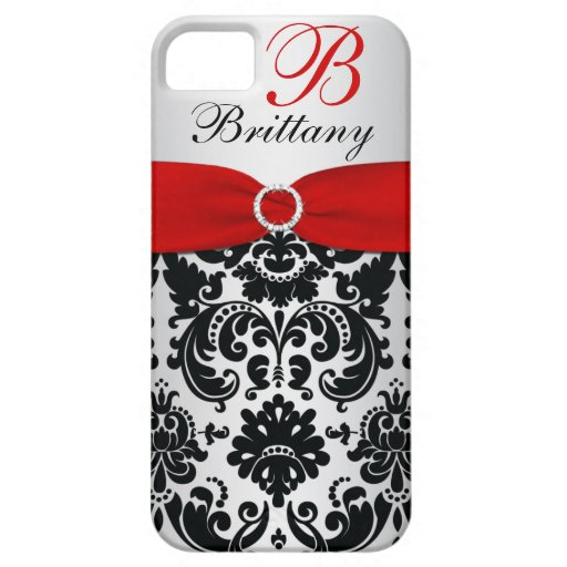 Personalized Black, Red, Silver Damask iPhone 5 iPhone 5 Cases