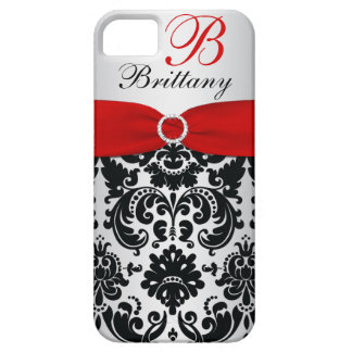 Personalized Black, Red, Silver Damask iPhone 5 iPhone 5 Case