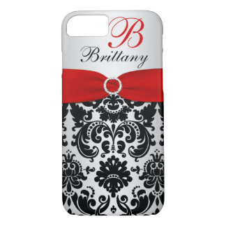 Personalized Black, Red, Silver Damask iPhone 7 iPhone 7 Case