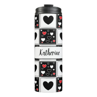 Personalized Black Red White Heart   Tumbler