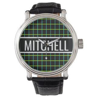 Personalized Black Retro Grid Watch