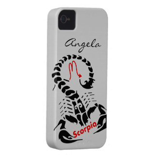 Personalized Black Scorpio Zodiac Scorpion Symbol iPhone 4 Case-Mate Cases