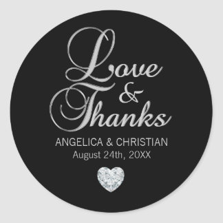 Personalized Black Silver LOVE & THANKS Wedding Classic Round Sticker