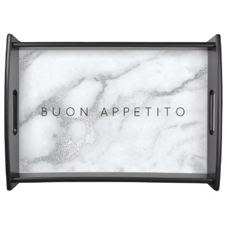 Personalized Black Silver Marble Serving Trays